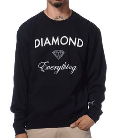 The Diamond Supply Diamond Everything black crew neck sweatshirt for guys is here to shine on everything. Coming in a black colorway this standard fit crew neck crew neck sweatshirt features long sleeves, a durable and comfortable cotton construction and