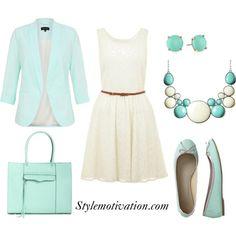 cream dress/brown belt with light blue bag