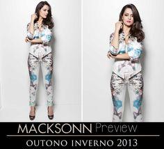A tendência dos conjuntos ainda é tendência no inverno 2013. Assim, a Macksonn traz para essa estação esse modelo que coordena calça e casaqueto com estampas exclusivas e disponíveis em duas cores. Gostou?