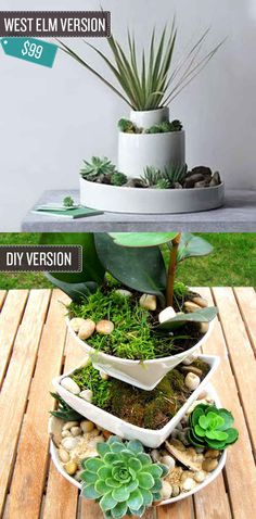 Create a tiered plant stand from old dishes. | 24 West Elm Hacks