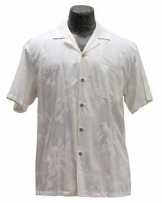 bdc31558 Men's White Bamboo Garden Hawaiian Wedding Shirt - AlohaFunWear.com White  Hawaiian Shirt, Church