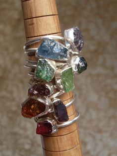 Wonderful color & contrasting textures! Nice variety to choose from also. FAIR TRADE Rough Gemstone Ring  Choose Your Stone by MieleMelograno,