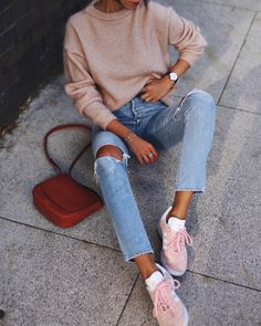 ACNE STUDIOS | dramatic mohair knit / CITIZENS of HUMANITY | liya high-waisted jeans / ADIDAS | gazelle sneakers / MANSUR GABRIEL | cross body bag