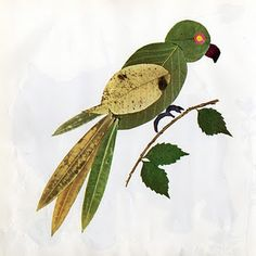 Bird craft with leaves.