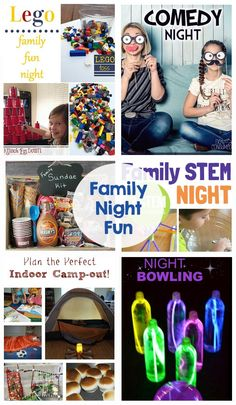 Family Night Fun - Games Activities Themed Nights Glow in the Dark Campout Comedy STEM the kids will LOVE these Family Fun Games, Family Theme, Family Movie Night, Family Guy, Family Movies, Family Activities, Family Life, Group Games, Indoor Activities