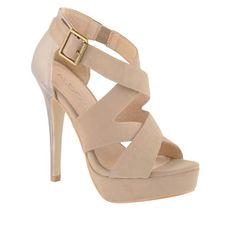 Antique brass heel bar buckle on those pink high heels, a woman of class