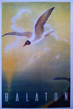 Balaton, Hungary, a vintage travel poster, Vintage Travel Posters, Hungary, Places To See, Tourism, History, Painting, Animals, Brooches, Cities