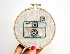 Vintage Camera Embroidery Hoop Art 4 Inch Hoop by IslaysTerrace, $19.55