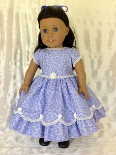 American Girl Doll 1850's lavender party dress