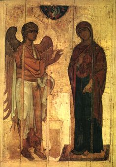 The Archangel Gabriel greets the Blessed Mother Mary who has the imprint of the Christ Child already in her heart, and she is holding the red thread - weaving the veil of the Holy of Holies. Religious Icons, Religious Art, La Pieta, Archangel Gabriel, Russian Icons, Blessed Mother Mary, Byzantine Art, Art Icon, Orthodox Icons