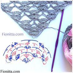 Yarn: Alize Diva Batik Design , microfiber, color 3303 pattern for a rectangular shawl as the photo pattern for a triangular shawl Shawl Patterns, Crochet Stitches Patterns, Crochet Chart, Crochet Motif, Knitting Patterns, Poncho Crochet, Crochet Shawls And Wraps, Crochet Scarves, Crochet Clothes