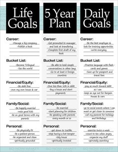 5 year plan example …