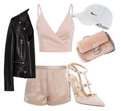 """""""Pink Part. III"""" by ga-gs ❤ liked on Polyvore featuring T By Alexander Wang, Fendi, Valentino, Yves Saint Laurent, NIKE, Pink, Barbie, baseballcap and baseballhats"""