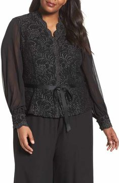 e9cd60facc919 Alex Evenings Sequin Lace Blouse with Tie Waist (Plus Size) Formal Wear