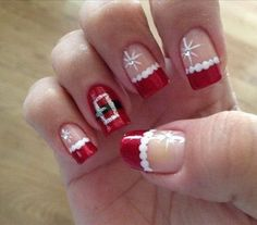Cute Santa Christmas Nail Design. More