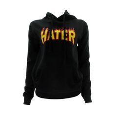 3 Forty - Women's Hater Flames Fleece Hoodie Sweatshirt - Black