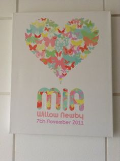 Butterfly Heart Baby Name Nursery Canvas