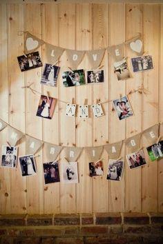 rustic wedding photo display idea