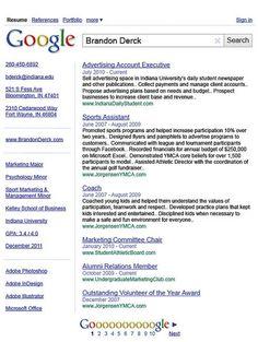 Google is wereldbekend en zeer populair.. Dat heeft de maker van dit CV ook moeten denken!!