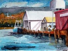 Image result for fishing boats at dock paintings
