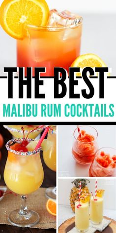 Rum, especially Malibu Rum, brings cocktails to a new level. Here's our round up of the best rum cocktails both with and without dairy. Malibu Rum Drinks, Best Rum Cocktails, Coconut Rum Drinks, Rum Cocktail Recipes, Mixed Drinks Alcohol, Good Rum Drinks, Mixed Drinks With Malibu, Cocktail Drinks, Rum Punch Recipes