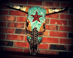 Star with Turquoise Mosaic Cow Skull You can find us on Facebook Krazy Cow Kreations *Message me for prices