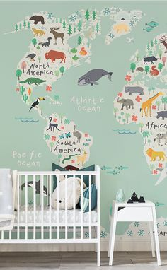 Pastel green works a dream in nursery spaces! This nursery wallpaper displays a delightful world map adorned with native animals, teaching your little one about the world! Create a truly positive and joyful space in your home with this unique map mural.