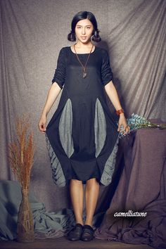 Patchwork Ruffle Dress in black / Linen Dress/ by camelliatune, $79.00