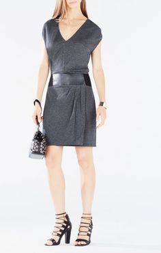 Briella Faux-Leather Belted Asymmetrical Dress