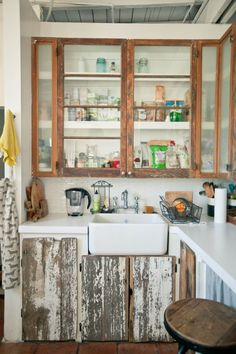 The distressed look on the cabinetry, is not to my liking, but I love the rest of it. The deep sink is exactly what I want in my kitchen.