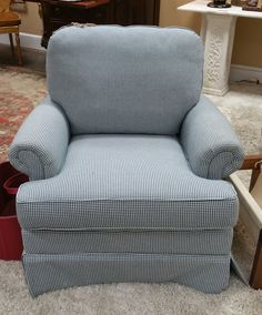 Blue and White Herringbone Club Chair, Construction by Craftmaster, Booth 30, $539.00.