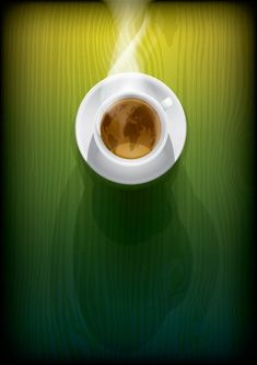 Tea Cafe, Green Backgrounds, Top View, Coffee Cups, Stock Photos, Illustration, Amor, Coffee Pictures, Coffee Cup