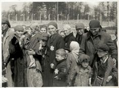 Women and children waiting in a small wooded area near Crematorium IV.
