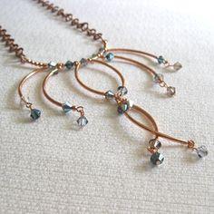 Feel like a modern princess...  http://www.etsy.com/listing/93365621/copper-tube-and-blue-swarovski-elegant