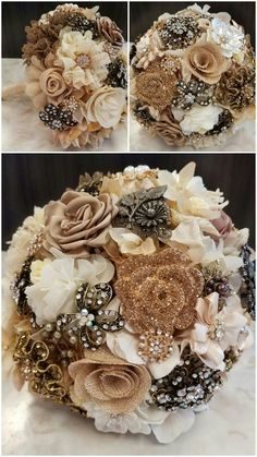 Rustic, vintage, neutals and sparkle! This heirloom brooch bouquet is my favorite! Created by @sixpenceandlace