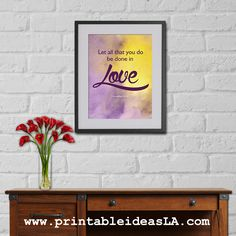 Let All That You Do Be Done In Love, Digital Print, Bible Verse, Christian Digital Print,WaterColor Painting,Christian Quotes