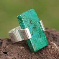 Peruvian artisan treasures the deep blue green glow of chrysocolla in the design of this beautiful #ring