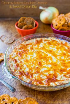 Creamy Baked Double Cheese and Sweet Onion Dip - Cheesy, comforting & easy dip that everyone loves! Recipe at averiecooks.com