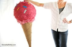 DIY Ice cream cone pinata for ice cream theme party. We're not going to lie…making an ice cream cone pinata is a bit messy and takes time. But it's not difficult, super cute and totally worth it! Ice Cream Theme, Diy Ice Cream, Best Ice Cream, Ice Cream Party, Creative Crafts, Diy Crafts, Birthday Party Themes, Birthday Ideas, Birthday Bash