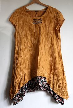 Honey orange upcycled tunic vintage clothing by GreenHouseGallery