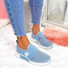 Women Sneakers 2021 New Bling Rhinestone Ladies Shoes Slip On Comfortable Sole Running Walking Shoes Female Flat Sports Shoes Tenis Casual, Casual Loafers, Casual Sneakers, Sneakers Fashion, Casual Shoes, Colorful Sneakers, Shoes Style, Cool Womens Sneakers, Comfy Shoes