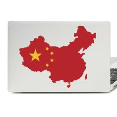 China Flag Map Laptop Skin Sticker Laptop Stickers, Laptop Skin, Vinyl Decals, Flag, China, Art, Kunst, Science, Flags