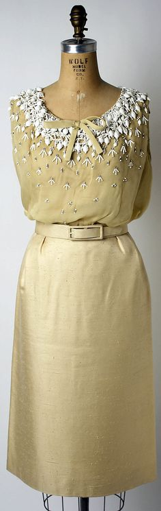 Christian Dior Haute Couture evening top, skirt, jacket suit ensemble from spring/summer 1963 by designer Marc Bohen. Made from silk embroidered with assorted beads, pearl and metal rhinestones. #Chriatian #Dior #Fashion House of Dior