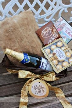 Cuddle Kit for Two: A soft, fuzzy blanket Some Bubbly Chocolate Truffles A lovey, dovey movie Some Candles Some Romantic Music