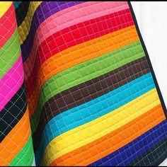 Rainbow Stripe Quilt w/ grid quilting