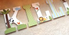 Items similar to Hand painted Jungle theme wall letters -- coordinates with Lambs and Ivy Bedtime Originals Jungle Buddies on Etsy Painted Letters, Hand Painted, Jungle Theme, Letter Wall, Baby Boy Shower, Your Child, Baby Room, Safari, Alice