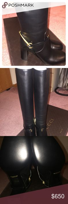 """GUCCI LEATHER HORSEBIT LIFFORD TALL BOOTS 38us 100% Authentic  GUCCI BLACK  LEATHER """"TESS """" KNEE HIGH  GOLD TONE HORSEBIT BUCKLE ANKLE STRAP  LIFFORD HIGH HEELS TALL  BOOTS   Color: Black  leather upper Round Toe  Leather Lining """"GUCCI"""" Padded Leather stamped insole Gold  Tone Horsebit harness Buckle  Leather Ankle Strap Gold Tone Metal """"GUCCI"""" Engraved Plaque Logo Polished Leather Sole 3-1/4""""  Heel 15"""" Tall Shaft 14"""" Circumference                Size 38-print on the shoes and box Original…"""