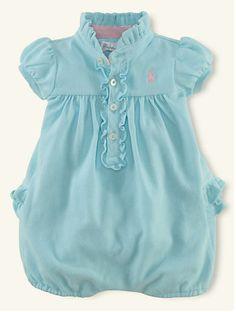 Mesh Ruffled Bubble Shortall Color: Soft Aqua Blue Size: 3M / 6M  HKD 149