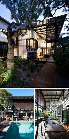 23 Awesome Australian Homes To Inspire Your Dreams Of Indoor/Outdoor Living | Folding glass doors separate the living room and outdoor entertaining area of this home, and can be opened to connect the two spaces.