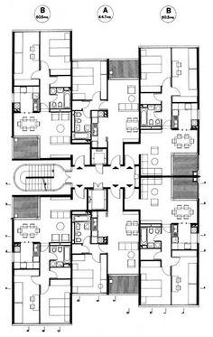 :: Studio Passarelli ::1979 Piano per l'Edilizia Economica e Popolare in via di Torrevecchia Roma Apartment Projects, Apartment Plans, Building Layout, Building Plans, Architecture Plan, Residential Architecture, Plan Studio, Condo Floor Plans, Flat Plan